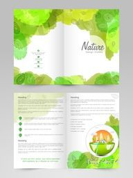 Creative Ecological Brochure, Template or Flyer design with green color splash for your business.