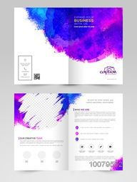 Colorful splash decorated Professional Brochure, Template or Flyer design with space for Business concept.