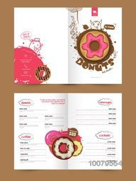 Creative Two Page Menu Card design with illustration of sweet cupcakes for Bakery, Restaurants and Cafe, Business concept.