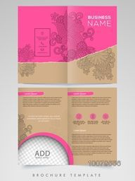 Beautiful floral design decorated, Two Page Brochure, Template or Flyer design with space to add image for Business purpose.