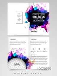 Abstract Two Page Brochure, Template or Flyer design with space to add image for Business concept.