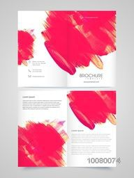 Abstract paint strokes decorated, Two Page Brochure Template or Flyer presentation for your Business.
