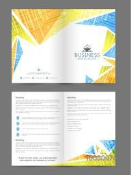 Two Page Professional Brochure, Template or Flyer presentation with abstract design for your Business.