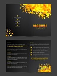 Golden abstract design decorated, Two Page Brochure, Template or Flyer presentation for your Business.