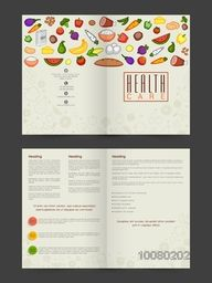 Health Care Brochure, Template or Flyer design with illustration of nutritious foods.