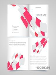 Creative abstract design decorated glossy Brochure, Template or Flyer presentation with front and back page view.