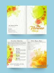 Beautiful flowers decorated, Two Page Professional Brochure, Template or Flyer design for your Business.