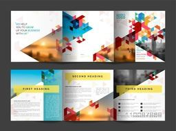 Abstract Three Fold Business Brochure with Front, Inner or Back Pages Presentation.