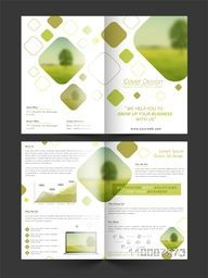 Creative Professional Four Pages Business Brochure Design with two sided presentation.