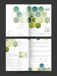 Two sided Presentation of Four Pages Business Brochure Set with abstract design.