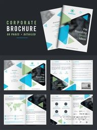 Professional Corporate Brochure Set with Eight Pages Detailed Presentation.