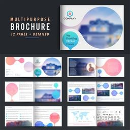 Twelve Pages Professional Multi-Purpose Business Brochure Set with space to add images.