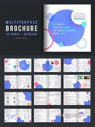 24 Pages, Detailed Presentation of Multi-Purpose Business Brochure Set with abstract circles.