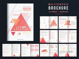 Multi-Purpose 16 Pages Modern Brochure Set with Infographic elements.