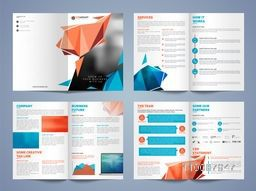 Eight Pages Professional Business Brochure Set with modern abstract design.