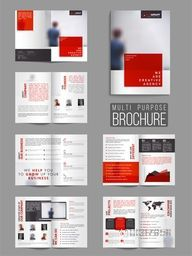 Multi-Purpose Professional Brochure Set with Cover, Inner or Back Pages Presentation.