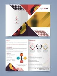 Four Pages Professional Business Brochure Set with colorful abstract design.