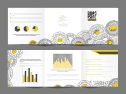 Beautiful floral design decorated, Three Fold Brochure layout for your Business.