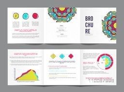 Three Fold, Creative Business Brochure Set with colorful floral design and infographic elements.