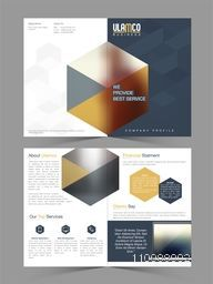 Four Pages Presentation of Professional Business Brochure Set with abstract design and laptop.