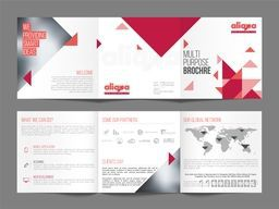 Multi-Purpose, Three Fold Brochure Set with abstract triangles and Front, Inner or Back Pages Presentation.