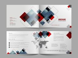 Four Pages Brochure layout with abstract design for Business.