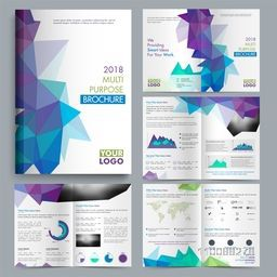 Multi Purpose Professional Brochure set with abstract design and infographic elements for Business Reports and Presentation.