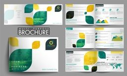 Eight Pages Professional Multi-Purpose Brochure Set with abstract leaves.