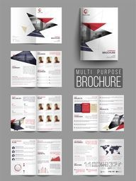 Creative Professional Twelve Pages Multi-Purpose Brochure Set.