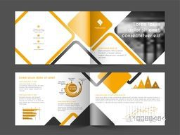 Four Pages Professional Brochure Set with infographic elements for Business concept.
