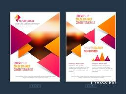Professional Business Flyer, Template or Banner with abstract triangles and Two sided Presentation.
