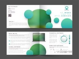 Elegant Professional Four Pages Brochure Set with abstract circles for Business concept.