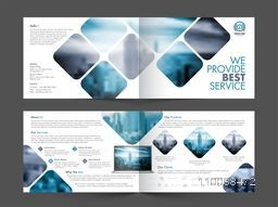 Two sided Presentation of Professional Four Pages Business Brochure Set with space to add images.