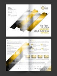 Professional Four Pages Business Brochure Set with two sided presentation.
