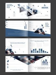 Creative Eight Pages, Professional Business Brochure Set with Infographic Statistical Bars.