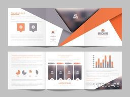 Modern Three Fold Business Brochure Set with infographic elements and space for your images.