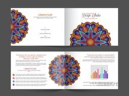 Four Pages Creative Professional Business Brochure Set with colorful floral design.
