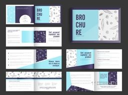 Complete Set of Twelve Pages Professional Business Brochure, Vector layout.