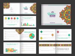 Twelve Pages Creative Business Brochure Set with colorful Infographic Elements and Floral Design.