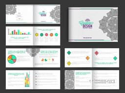 Creative Business Brochure Set of Twelve Pages with colorful Infographic Elements and Floral Design.