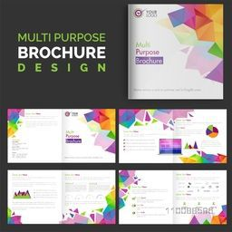 Multi Purpose, Eight Pages Business Brochure design with colorful abstract low-poly shapes.