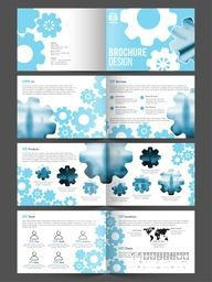 Professional Eight Pages Business Brochure Set with creative Setting symbols and space to add images.
