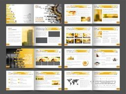 Creative Professional Sixteen Pages Business Brochure Set with Infographic elements and much more for your Presentations.