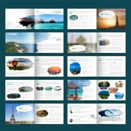 Complete Set of Twenty Pages Professional Tour and Travel Business Brochure Set.