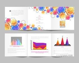 Creative Tri-Fold Brochure design with glittering geometric hexagon shapes and statistical infographic elements for Business.