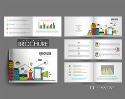 Eight Pages, Professional Brochure design with flat infographic elements for your Business presentation.