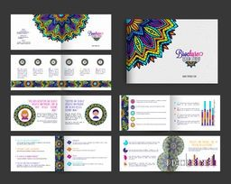 Complete Brochure set with beautiful colorful floral design and infographic elements for Business concept.