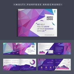 Multi Purpose eight pages, Corporate Brochure set with infographic elements and polygonal abstract design for Business.
