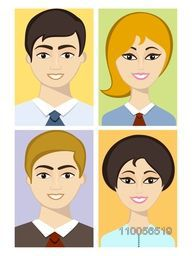 Colorful set of young smiling businessmen and women avatars.