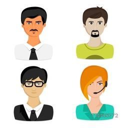 Set of different male and female business avatars on white background.